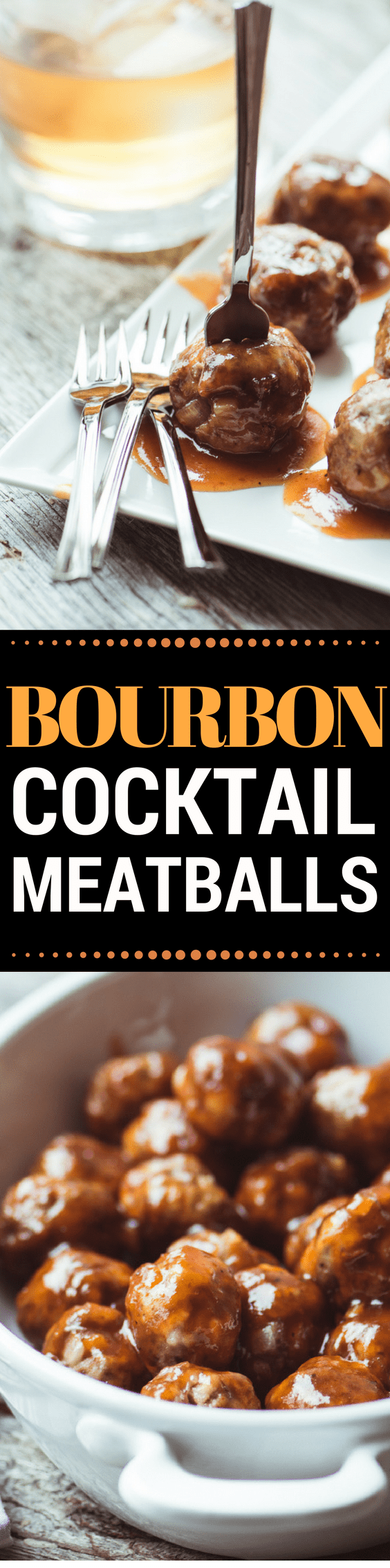 These luscious little Bourbon Meatballs are going to be the hit of your next party ~ people will flock to the meatballs, but they'll hang around for the sauce!! #meatballs #appetizer #bourbon #cocktailmeatballs #recipe #holidays #partyfood #easycocktailmeatballs #hotappetizer