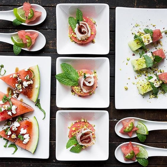 watermelon appetizers from Seasons & Suppers