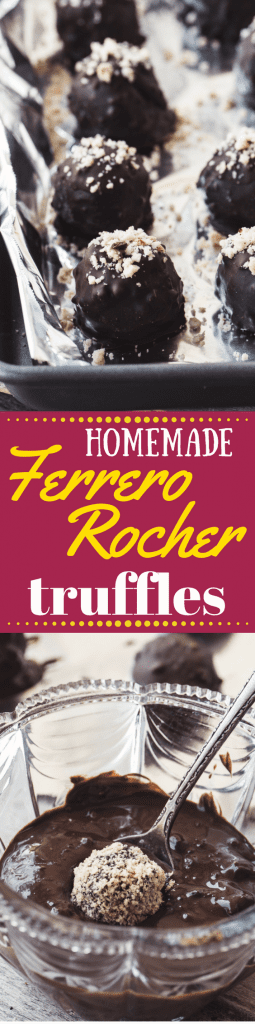 How to Make Homemade Ferrero Rocher Truffles ~ this is it guys, the ultimate decadent treat made right in your own kitchen! These DIY hazelnut chocolate truffles are going to make you VERY popular with friends and family...