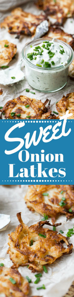 Sweet Onion Latkes with Chive Sour Cream ~ be forewarned ~ the aroma of these amazing latkes sizzling on the stove will draw crowds! ~ theviewfromgreatisland.com