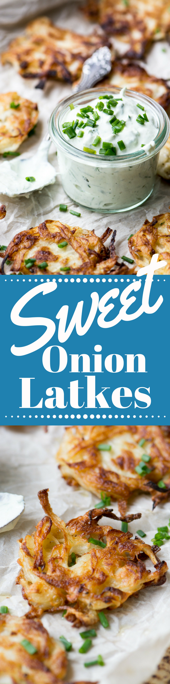 Sweet Onion Latkes with Chive Sour Cream ~ be forewarned ~ the aroma of these amazing latkes sizzling on the stove will draw crowds! #latkes #sweetonions #vidaliaonions #mauionions #Passover #passoverrecipe #hanukkah #hanukkahrecipe #hanukkahfood #breakfast #Jewishrecipes #fritters #breakfast #brunch