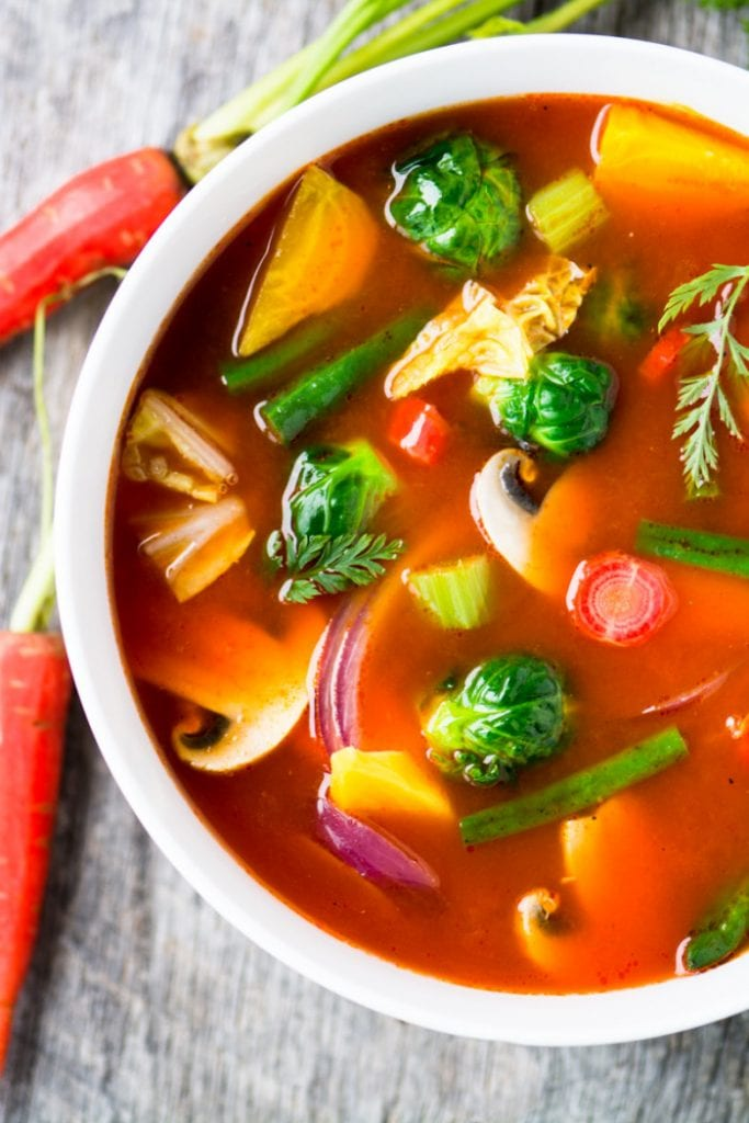 weight loss soup in a white bowl