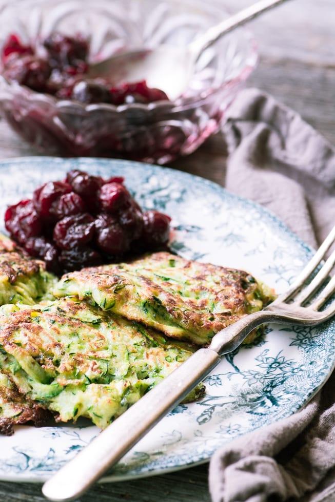 zucchini latkes on a plate