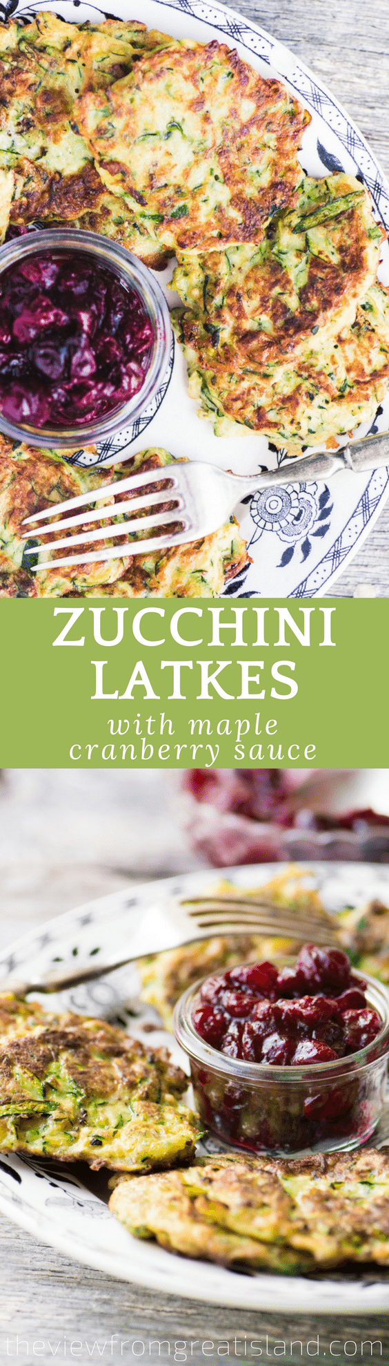 Zucchini Latkes with Maple Cranberry Sauce is a colorful twist on a beloved Passover and Hanukkah tradition!  #hannukah #passover #potatopancakes #latkes #zucchini #breakfast #jewishrecipe #latkerecipe #fritters #brunch #sidedish