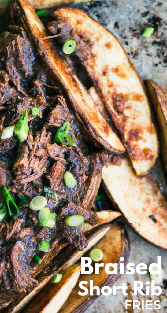 BRAISED SHORT RIB FRIES ~ oven fries topped with short ribs in a rich wine gravy | appetizer | comfort food| Game Day | theviewfromgreatisland.com