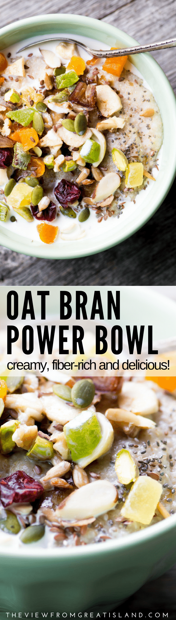 This Oat Bran Power Bowl recipe is a really cozy way to fuel your day ~ oat bran is creamier, has more fiber, and keeps you satisfied even longer than regular oatmeal. We love it! #breakfast #oatmeal #porridge #glutenfree #cereal #healthy #highfiber #nutrition #glowbowl #breakfastbowl #oats #wholegrain #grainbowl