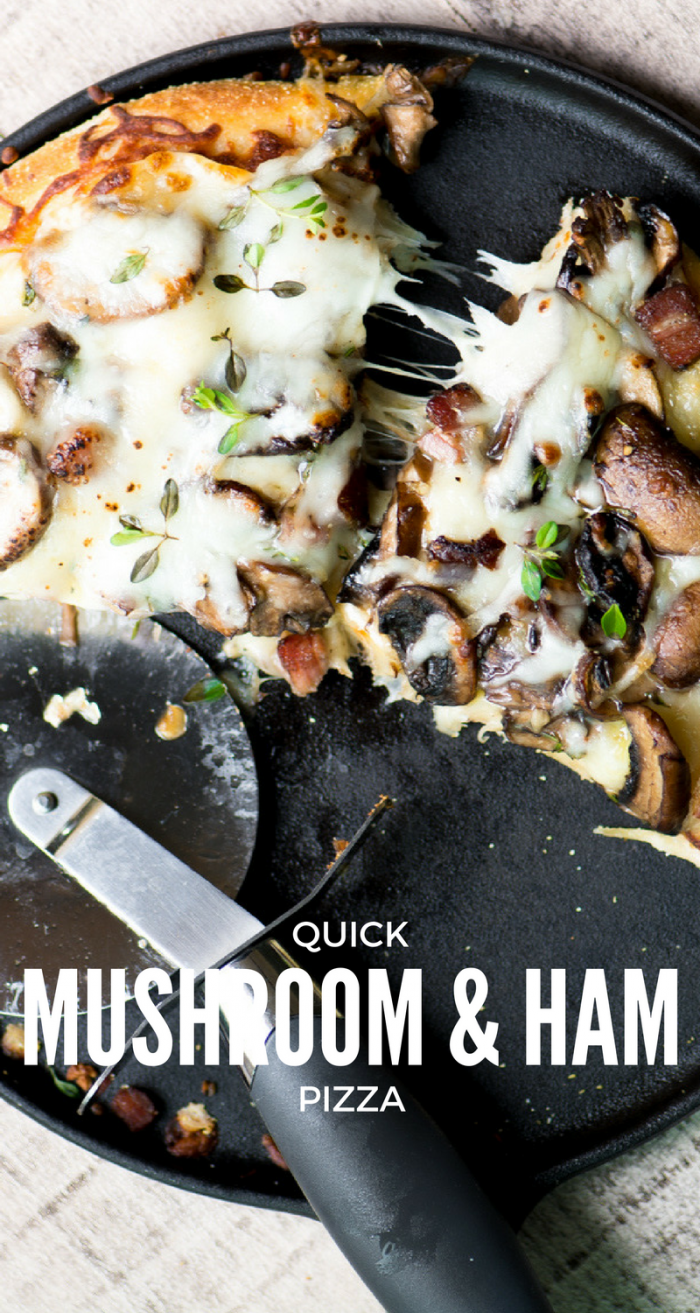 This Quick Mushroom and Ham Pizza is a warm and cozy pizza that you can whip up on a whim because it's made with...wait for it...refrigerated dough! #1hourpizza #homemadepizza #pizzadough #bestpizzadough #pizzadoughrecipe #pizzarecipe #mushrooms #quickpizza #easypizza #dinner #ham #leftoverham