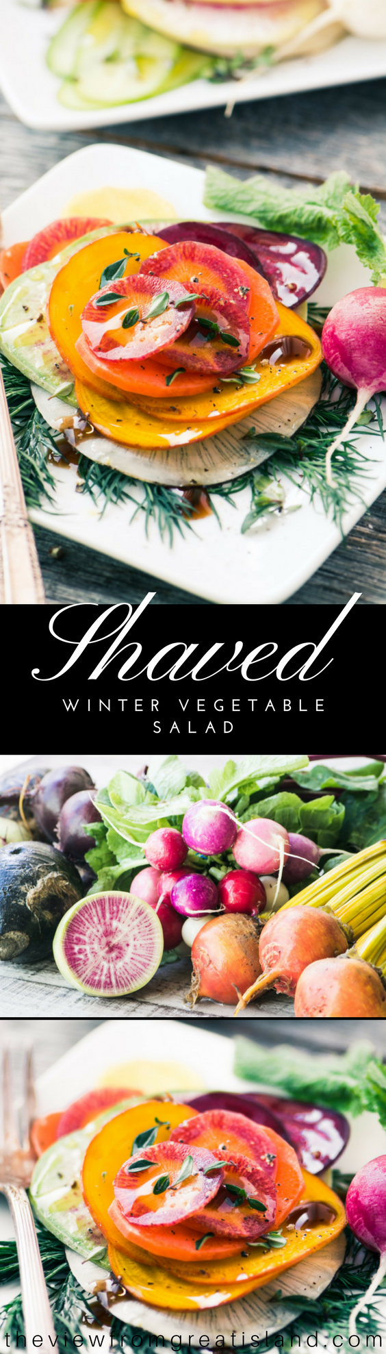 Shaved Winter Vegetable Salad ~ Paper thin rounds of winter root veggies are stacked and then lightly dressed with olive oil and a balsamic glaze. #salad #wintersalad #shavedsalad #rootvegetables #carrots #turnips #beets #rainbowcarrots #carrotsalad #healthysidedish #Thanksgivingsidedish #Christmassidedish #holidaysidedish #holidaysalad #glutenfree #paleo #vegan #vegetarian #whole30 #weightwatchers