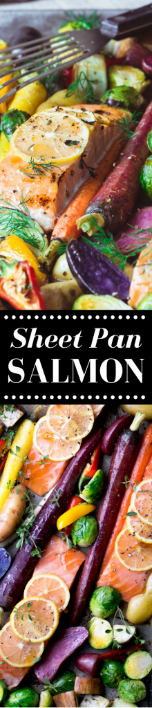 Sheet Pan Salmon with Caramelized Vegetables is a healthy and vibrant 30 minute meal that's also low carb, whole 30, paleo, and delicious! ~ theviewfromgreatisland.com