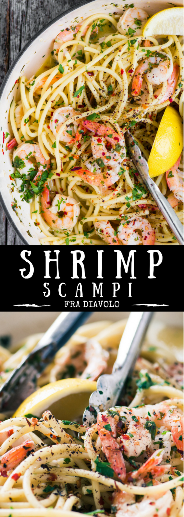 Shrimp Scampi Fra Diavolo ~ this fiery romantic dish can be whipped up in 30 minutes with a bag of frozen shrimp and pantry staples. This is the best shrimp scampi recipe I've tried, and also the easiest. #30minutemeal #shrimp #pasta #spicypasta #shrimprecipe #pastawithshrimp #bestshrimprecipe #easydinner #bestscampi #shrimpscampi #healthydinner #shellfish #fish