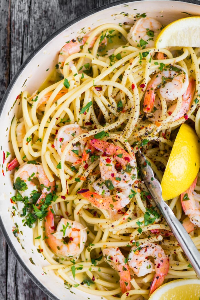 Shrimp Scampi Fra Diavolo ~ this fiery romantic dish can be whipped up in no time with a bag of frozen shrimp and pantry staples. ~ theviewfromgreatisland.com