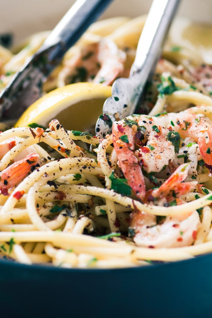 Shrimp Scampi Fra Diavolo is a spicy version of a quick and easy pasta dish ~ perfect for weeknights, datenights, and everything in between! ~ theviewfromgreatisland.com