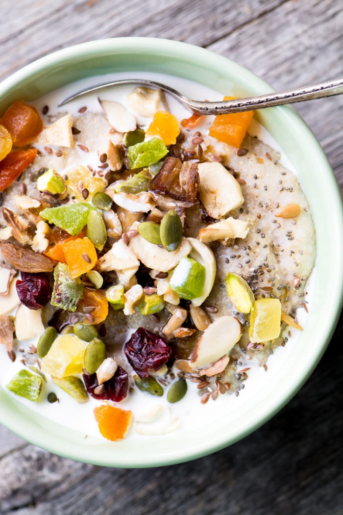 Oat Bran Power Bowl filled with dried fruits, nuts, and seeds is full of fiber and protein! ~ theviewfromgreatisland.com