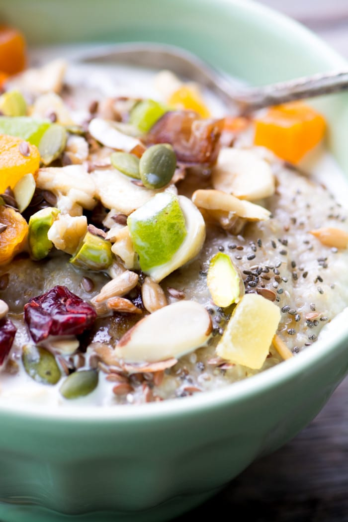 Healthy Oat Bran with Trail Mix is a delicious way to stay fueled all day! ~ theviewfromgreatisland.com