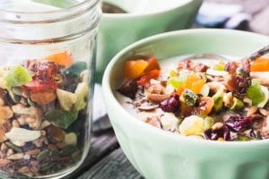 Oat Bran with Trail Mix is a wonderfully cozy breakfast for a chilly morning, it's healthy, full of protein and fiber, and so delicious! ~ theviewfromgreatisland.com