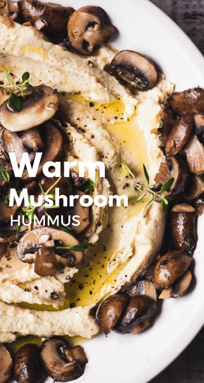 Warm Hummus with Mushrooms ~ this is one of our favorite ways to do hummus ~ the sauteed mushrooms give this healthy appetizer a rich, meaty, almost decadent flavor. Add lots of toasted pita bread and you could call it dinner. #hummus #appetizer #middleeastern #appetizer #hotappetizer #dip #hotdip #mushrooms #warmhummus #besthummus