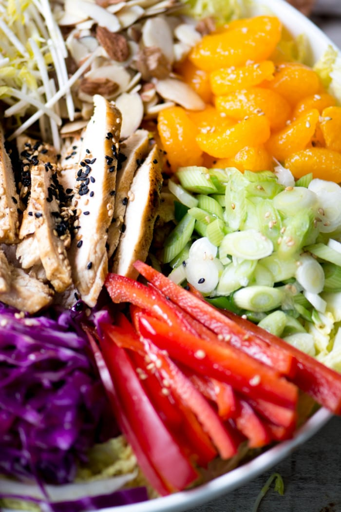 My Chinese Chicken Salad recipe is colorful, healthy, full of flavor, and oh-so-crunchy! ~ theviewfromgreatisland.com
