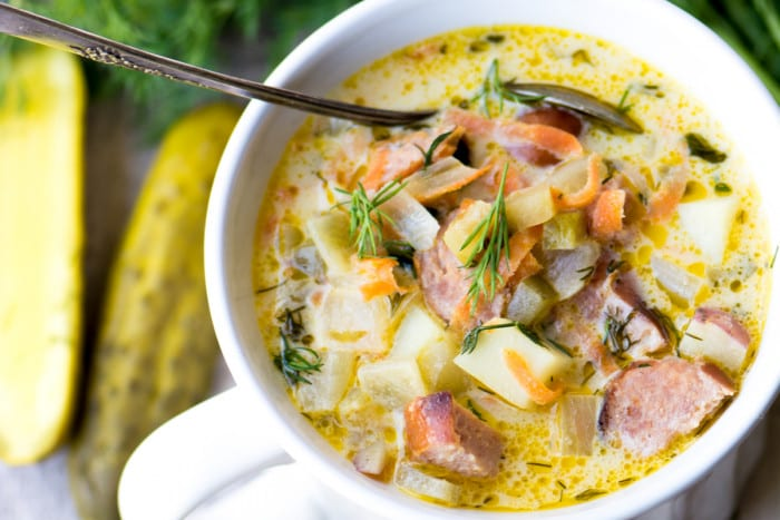Dill Pickle and Brat Soup ~ a wonderfully surprising soup made with smokey brats, tangy dill pcikles, and tender potatoes in a creamy broth ~