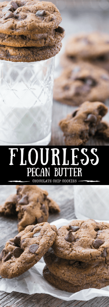 These healthier Flourless Pecan Butter Chocolate Chip Cookies are gluten free, dairy free, and utterly divine!