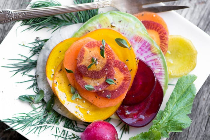Shaved Winter Vegetable Salad ~ a beautiful, crunchy, healthy salad for the colder months ~ theviewfromgreatisland.com
