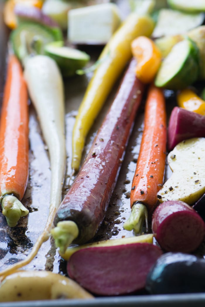 Roasting vegetables for Sheet Pan Salmon and Caramleized Winter Veggies ~ theviewfromgreatisland.com