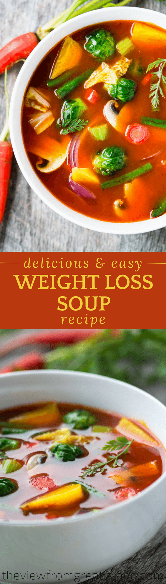 This revitalizing weight loss soup is satisfying and delicious. I don't know where I'd be without it ~ probably a few pounds heavier, that's for sure! #soup #weightlossrecipe #weightlosssoup #weightwatchers #dietsoup #diet #healthysoup #lowcalorierecipes #vegetablesoup