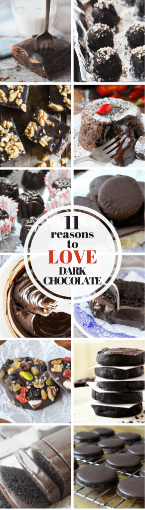 11 Reasons to Love Dark Chocolate ~ it's rich, decadent, delicious, and so good for you! |health benefits of dark chocolate | healthy dessert | Valentine's Day | Dark Chocolate Recipes