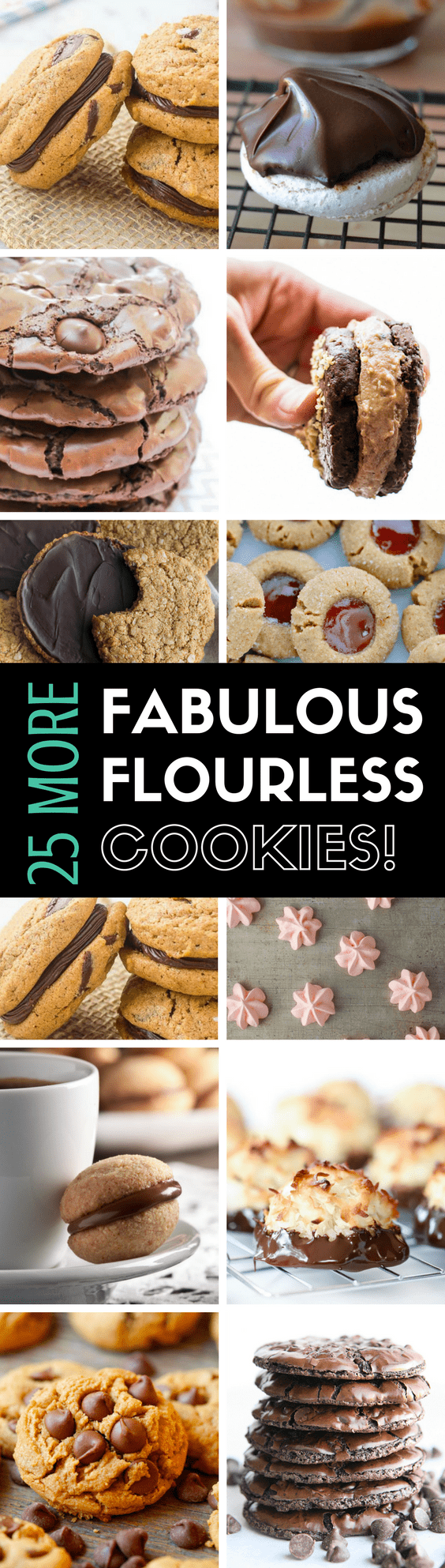 25 MORE Fabulous Flourless Cookies ~ a round-up of the best, most delicious gluten free cookies out there! | dessert | healthier cookies | cookie recipes |