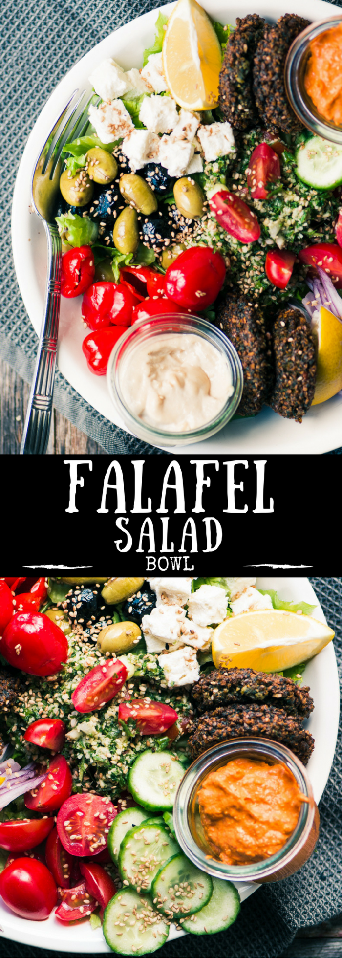 My Falafel Salad Bowl is such a fabulous vegetarian main course salad, it makes Meatless Monday everybody's favorite night of the week! #falafel #chickpeas #MiddleEastern #vegeetarian #salad #Syrian #Lebanese #Israeli #Palestinian #pitabread #veggieburger