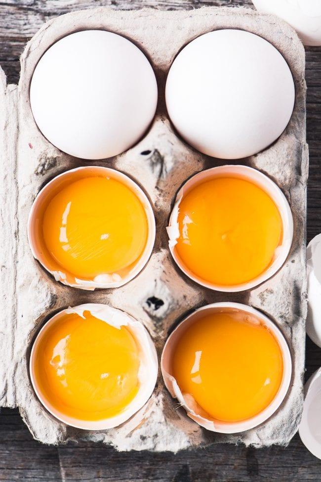 Fresh egg yolks for Shrimp in Lemon Sauce with Olives ~ theviewfromgreatisland.com