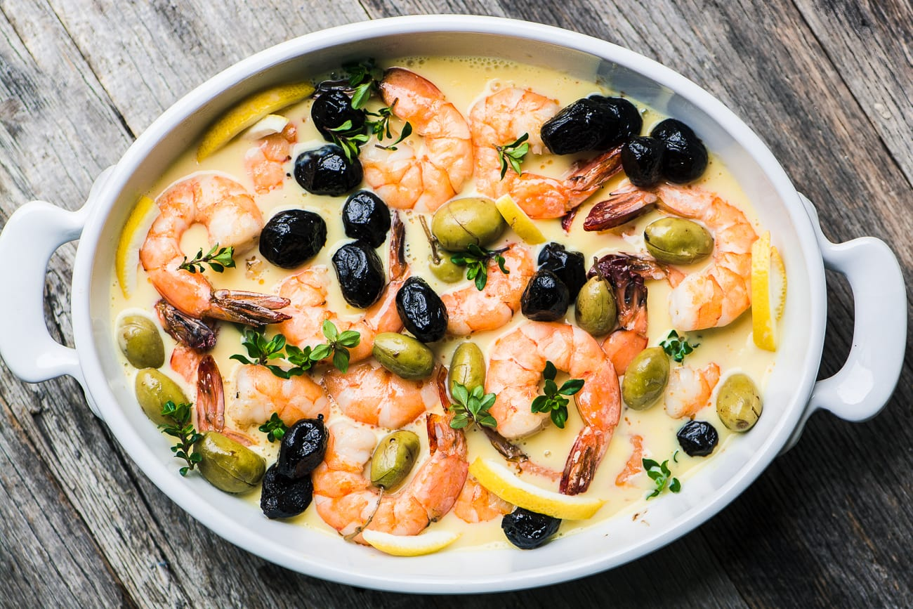 Greek style Shrimp in Lemon Sauce with Olives ~ theviewfromgreatisland.com
