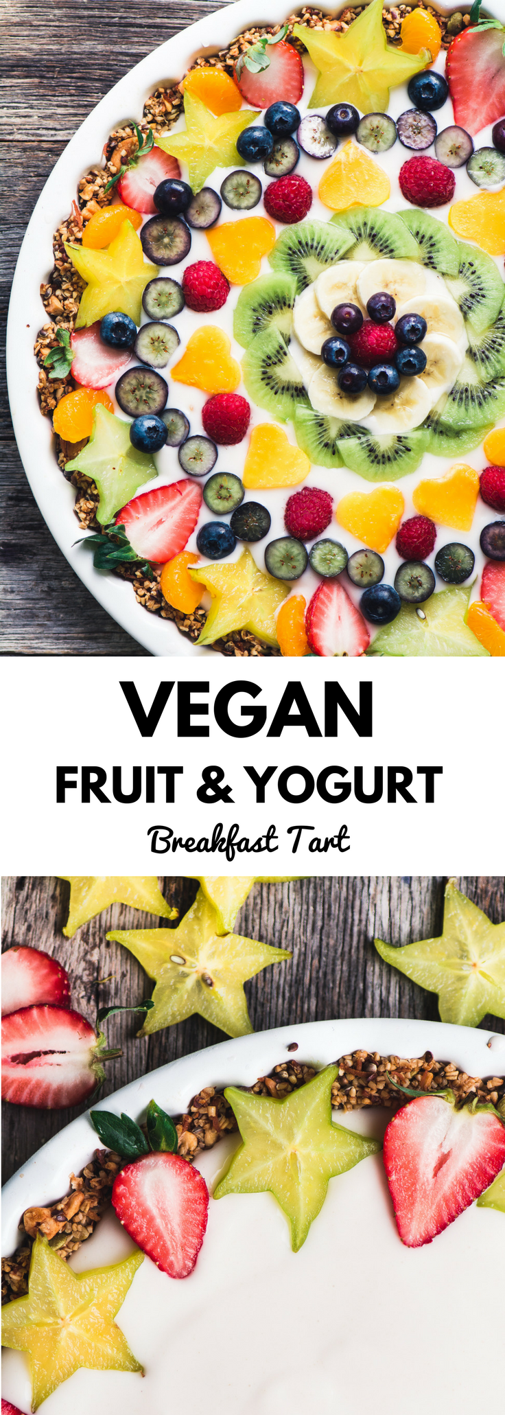 My Vegan Fruit and Yogurt Breakfast Tart makes a fun non-dairy breakfast treat for any occasion. Customize your healthy tart with whatever fruit's in season. #yogurt #breakfast #vegan #fruittart #lowfat #glutenfree #paleo #whole30 #fruit #granola #mothersday #easter
