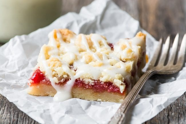 Blood Orange Crumble Bars drizzled with glaze