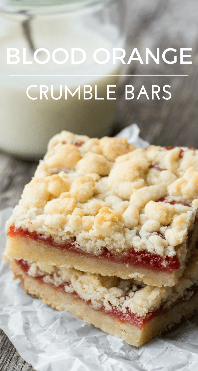 BLOOD ORANGE CRUMBLE BARS ~ delicate vanilla bean shortbread bars filled with a tangy blood orange jam ~ | breakfast | Dessert | Citrus Jam | Coffee Cake |