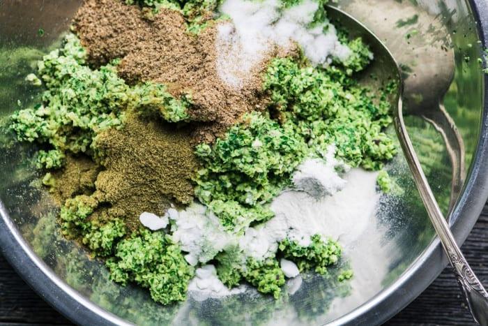 Mixing up homemade falafel for Falafel Salad Bowl ~ theviewfromgreatisland.com