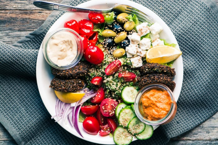 Falafel Salad Bowl is a satisfying and healthy Middle Eastern main course salad ~ theviewfromgreatisland.com