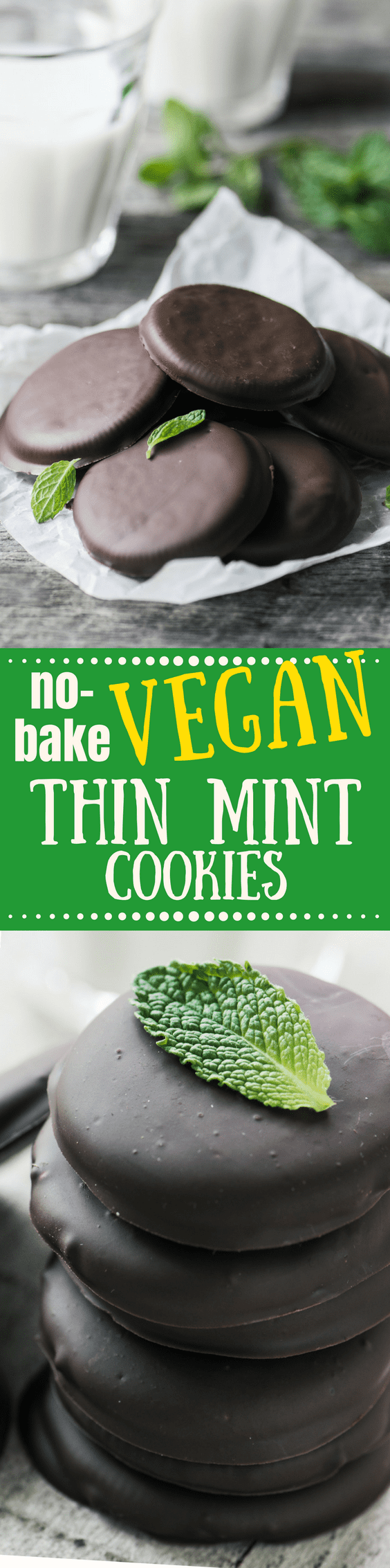 My No Bake Vegan Thin Mint Cookies are crisp chocolate cookies thickly covered in minty chocolate ~ these are the easiest cookies you'll ever make, and they're hopelessly addictive! |cookies | copy cat Girl Scout cookies | no bake cookies | dessert | Peppermint | Chocolate cookies