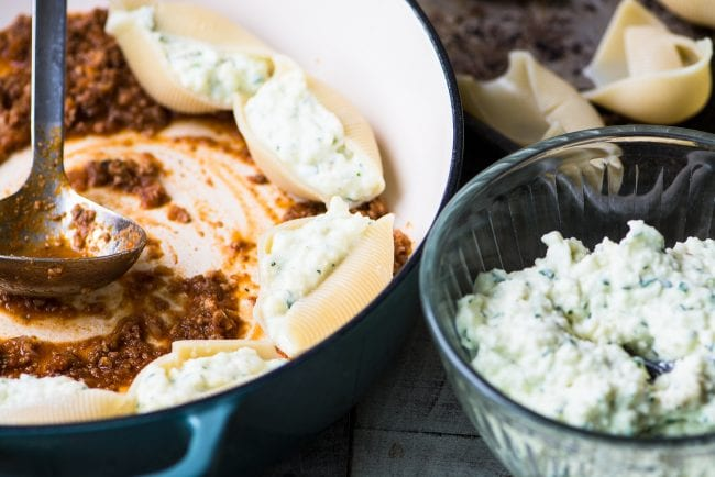 Making Stuffed Shells Bolognese with a rich meaty homemade bolognese sauce ~ theviewfromgreatisland.com