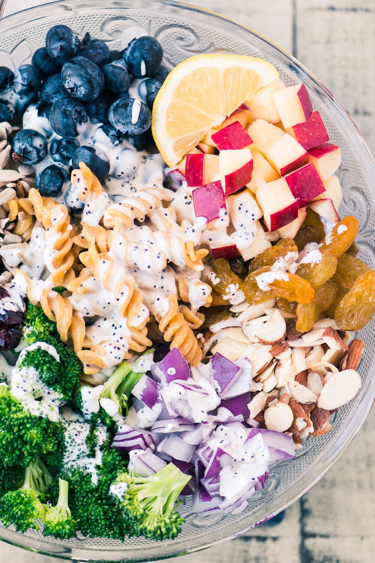 Broccoli and Blueberry Pasta Salad - Chickapea Pasta