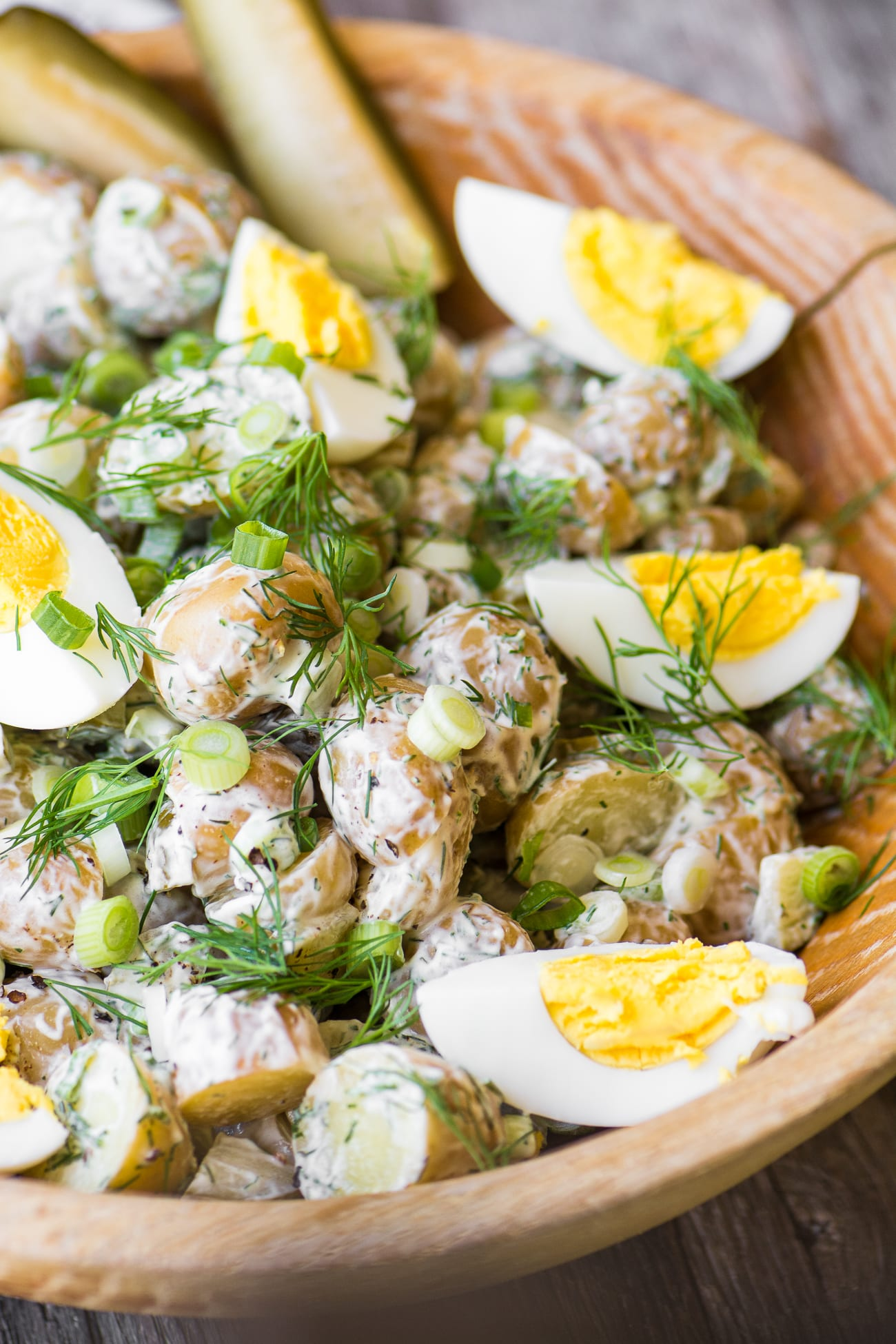 Dill Pickle Potato Salad is tripled infused with dill