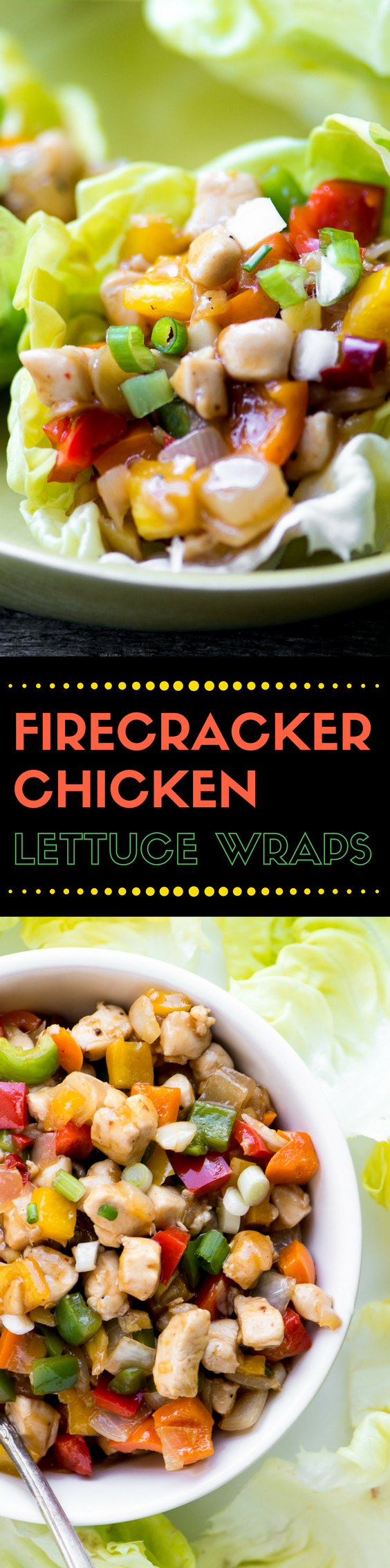 Low carb eating just got a whole lot more interesting with my Firecracker Chicken Lettuce Wraps!  Who needs rice when you've got fresh crunchy lettuce leaves?  Everybody's going to come back for seconds and thirds, and that's ok because this meal is low calorie and super healthy! #chickenwraps #lettucewraps #healthy #chicken #dinner #dinnericeas #glutenfree #lowcarb #salad #appetizer