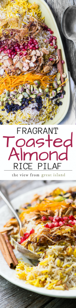 My Fragrant Toasted Almond Rice Pilaf is meant for joyful gatherings ~ it has roots in the ancient cuisines of Persia and the Middle East, but it's vegan, gluten free, paleo, and whole 30 compliant, so it'll please a modern crowd too! |EASTER | SIDE DISH | SPRING |