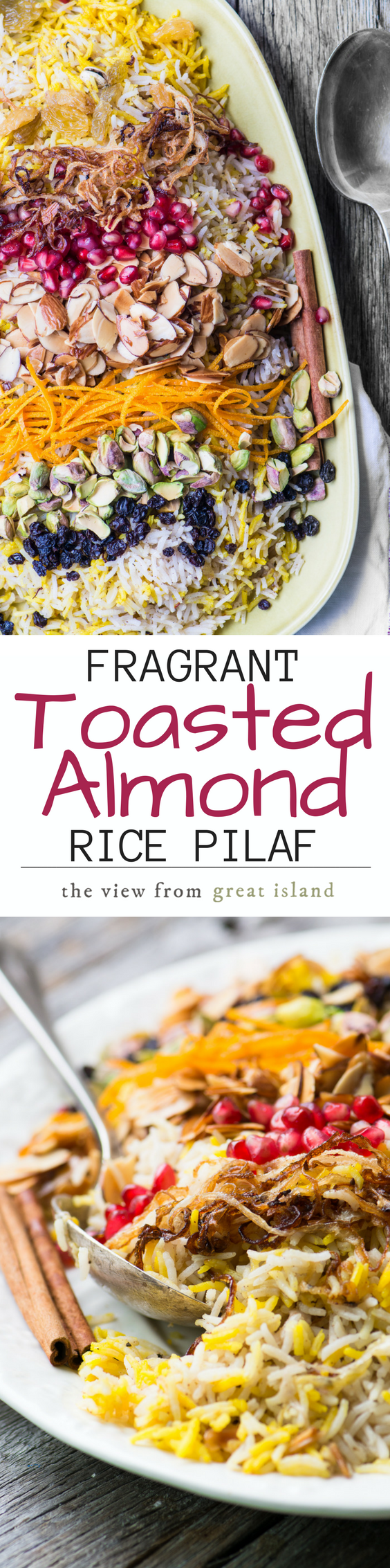 My Fragrant Toasted Almond Rice Pilaf is meant for joyful gatherings ~ this pretty gluten free vegan dish will thrill everybody around your table! #Persian #pilaf #rice #sidedish #vegansidedish #vegetarian #Thanksgiving #Christmas #holidays #Grains #glutenfreesidedish #healthy #persianrecipe #turkishrecipe #Indianrecipe