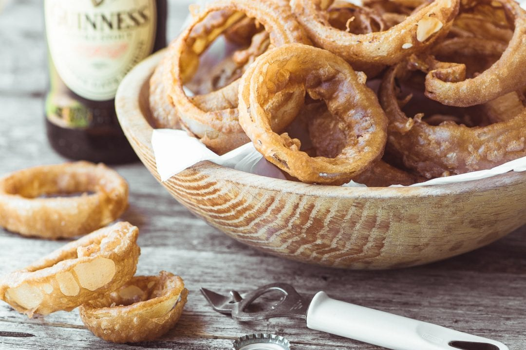 Guinness Battered Onion Rings with Spicy Curried Mayo