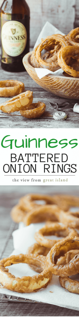Guinness Battered Onion Rings with a spicy curried mayo dip are the ultimate pub style appetizer ~ | St' Patrick's Day | Beer | Sweet Onions |