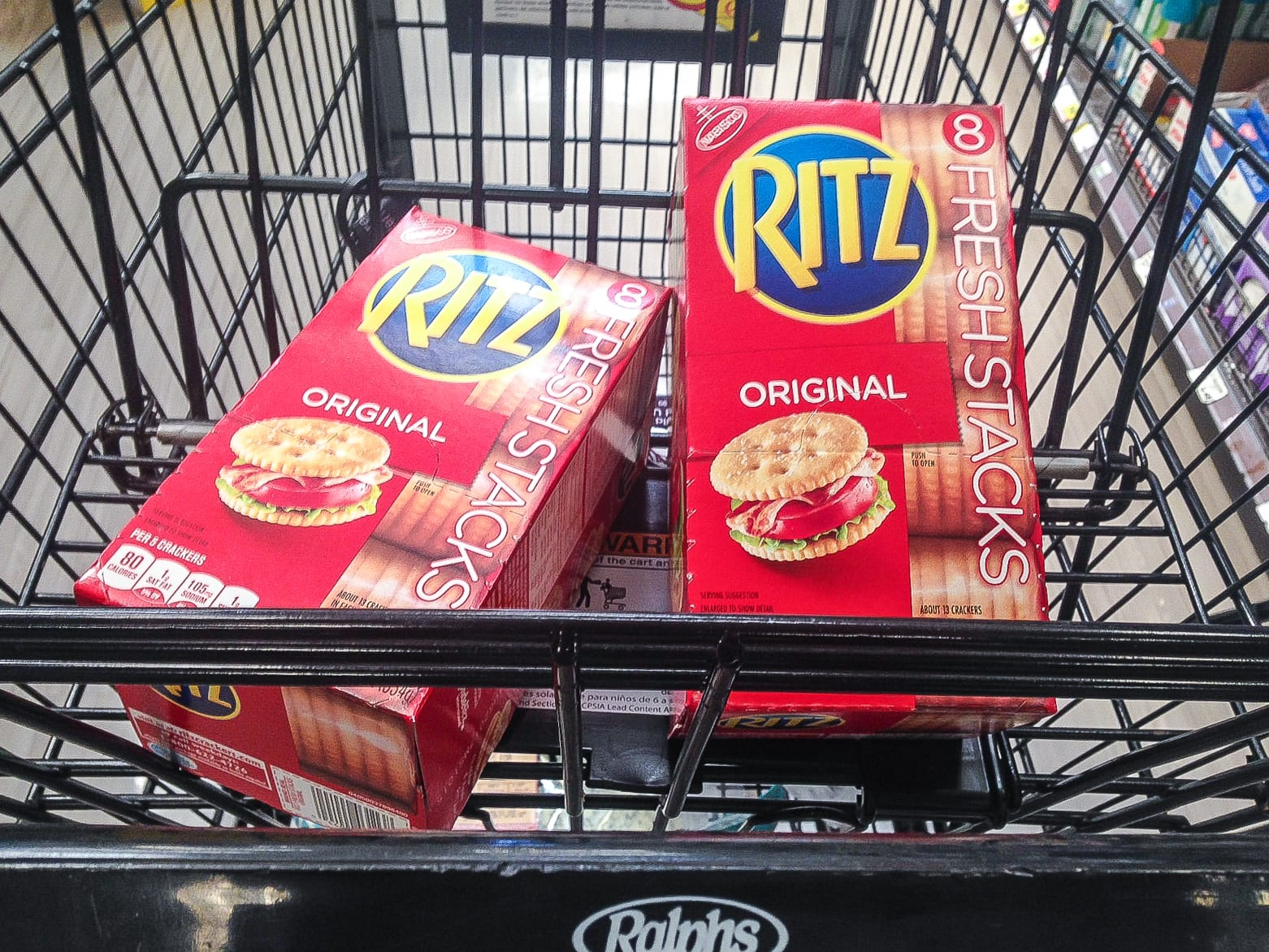 Shopping at Ralph's for RITZ Crackers