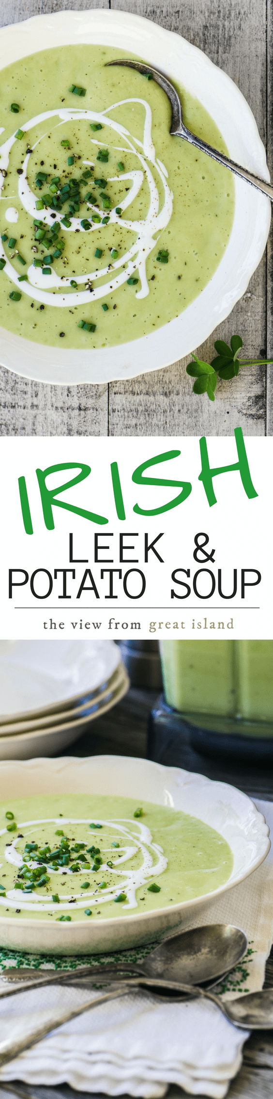 This is a simple and satisfying Leek and Potato Soup, straight from the Irish countryside. Serve it with a drizzle of soured cream, some fresh snipped chives, and a big chunk of soda bread. |CREAMED SOUP | LUNCH | ST. PATRICK'S DAY | IRISH RECIPES