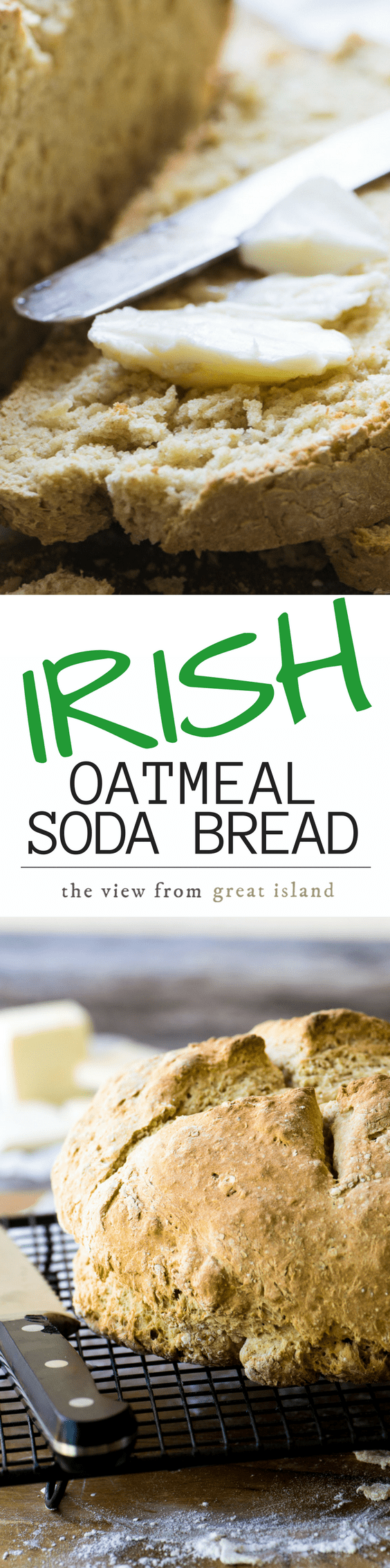 Irish Oatmeal Soda Bread ~ I've made this authentic Irish quick bread even more delicious with the addition of oat flour. #bread #quickbread #irishbread #noyeastbread #sodabread #oatmealbread #easybread #baking #irishrecipe #stpatricksday #oatmeal #rusticbread