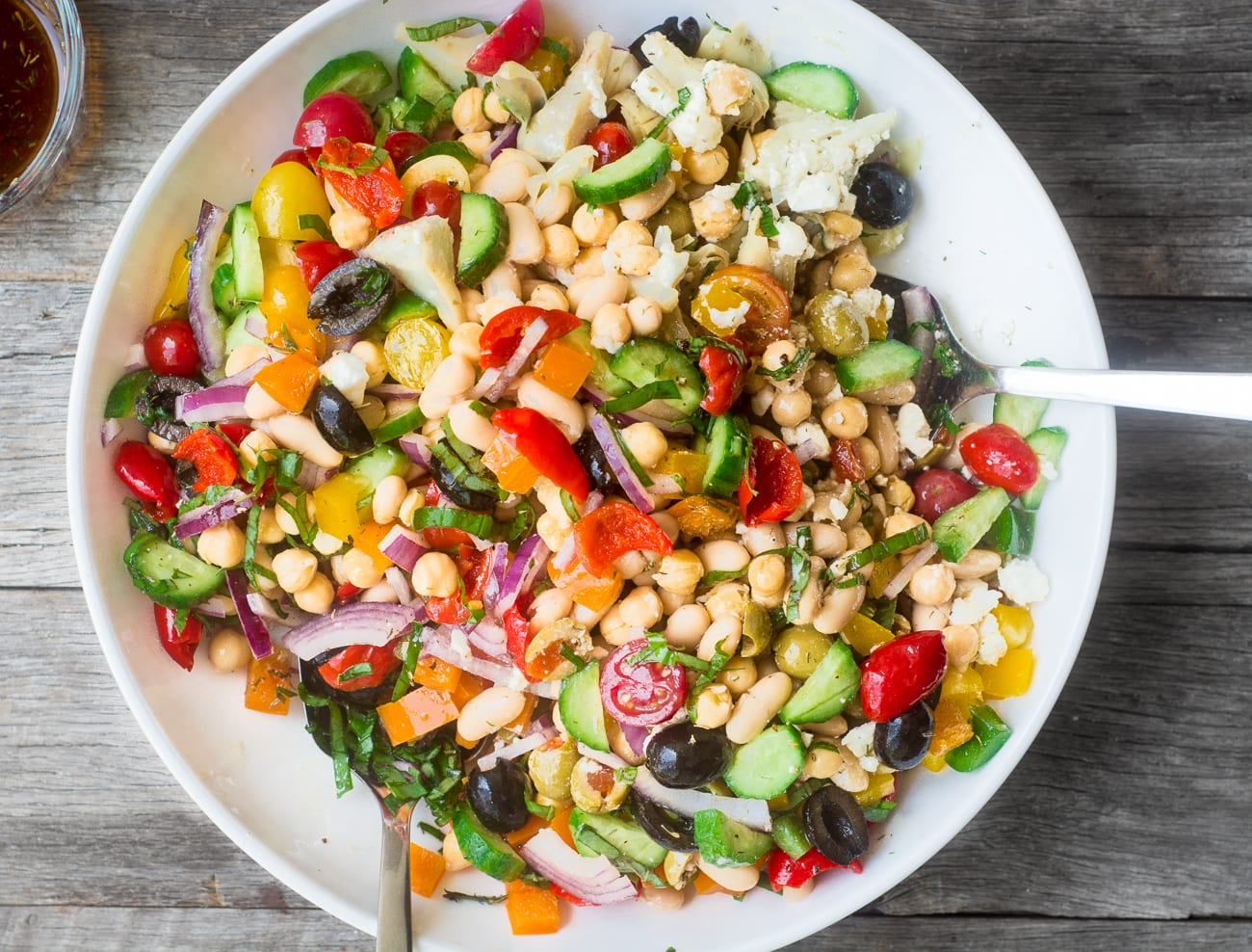 Mediterranean Bean Salad in a white bowl
