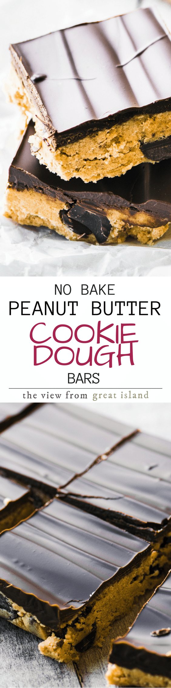 No Bake Peanut Butter Chocolate Chip Cookie Dough Bars ~ these easy bars are a cookie dough lover's dream come true. There are no eggs in the recipe, and the flour is microwaved to kill any potential bacteria. #dessert #cookiedough #chocolatechipcookie #bars #cookiedoughrecipe #rawcookiedough #chocolate #cookies #nobake